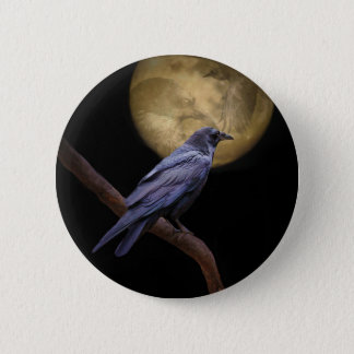 Halloween, Gothic Style Raven and Moon 6 Cm Round Badge