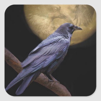 Halloween, Gothic Style Raven and Moon Square Sticker