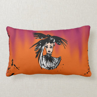 Halloween gothic witch with ravens lumbar cushion