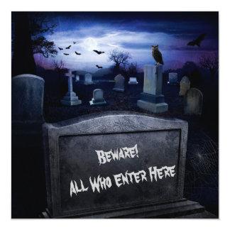 Halloween Graveyard Bats Owl Tombstones Card