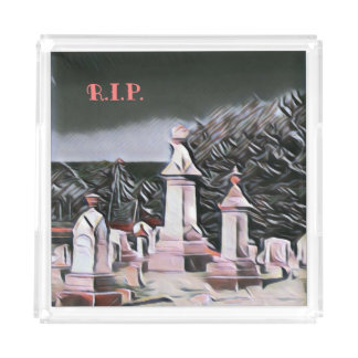 Halloween Graveyard RIP Party Supplies Acrylic Tray