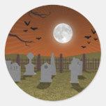 Halloween: Graveyard Scene: Round Stickers