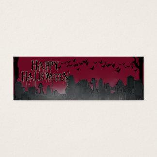 Halloween Graveyard Scene Silhouette Mini Business Card