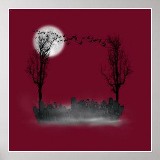Halloween Graveyard Scene Silhouette Poster