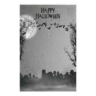 Halloween Graveyard Scene Silhouette Stationery Paper