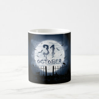 Halloween graveyard scenes 31 october basic white mug