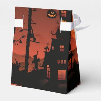 Halloween graveyard scenes pumpkin bats moon favour box