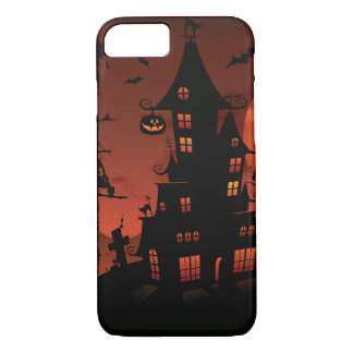Halloween graveyard scenes pumpkin bats moon iPhone 7 case