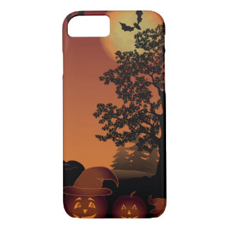 Halloween graveyard scenes pumpkins bats moon iPhone 7 case