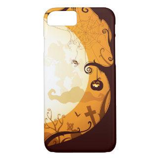 Halloween graveyard scenes, raven, pumpkin, spider iPhone 7 case