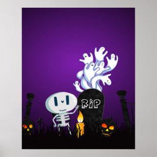 Halloween Graveyard Spooky Cute Skeleton & Ghosts Poster