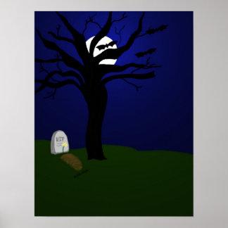 Halloween graveyard with bats poster
