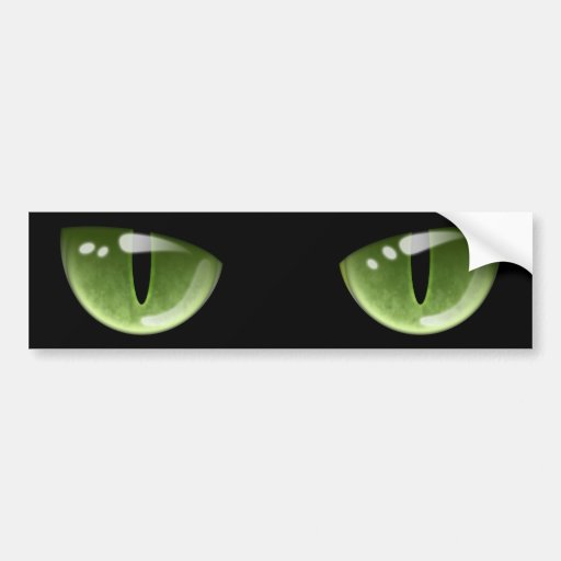 Halloween Green Cat Eyes Car Bumper Sticker