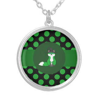 Halloween Green Fox with Witch Hat & Polka Dots Round Pendant Necklace