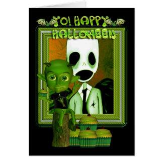 Halloween Green Imp sitting on a log Greeting Card