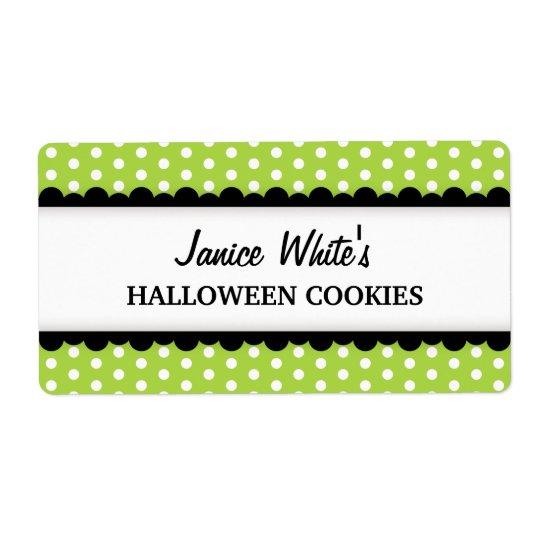 Halloween green polka dot pattern canning jar