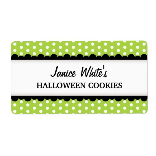 Halloween green polka dot pattern canning jar shipping label