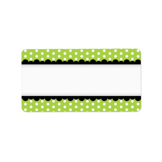 Halloween green polka dots black scalloped border label