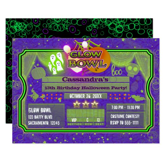 Halloween Green & Purple GLOW BOWL Birthday Party