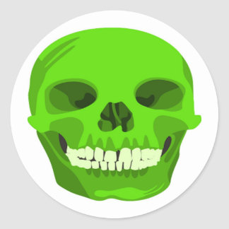 Halloween Green Scull Your Party Sticker
