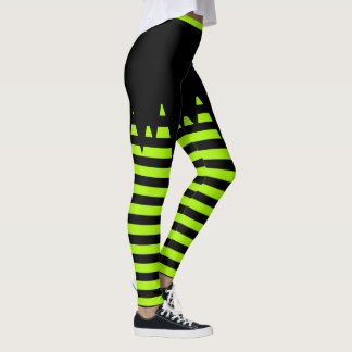 Halloween Green Striped Leggings