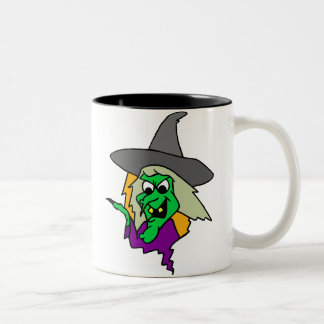 Halloween Green Witch Two-Tone Mug