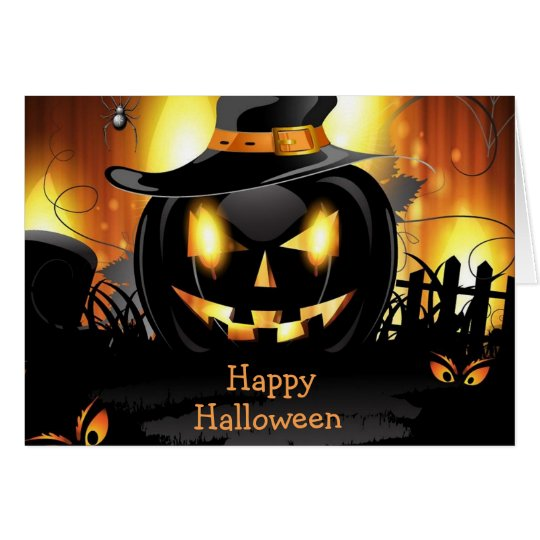 Halloween Greeting Card/Black Jack-o-lantern Card