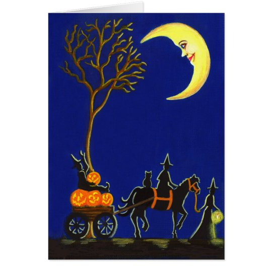 Halloween,greeting,card,witches,moon,pumpkins Card
