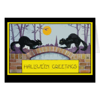 Halloween Greeting Card with Two Black Cats
