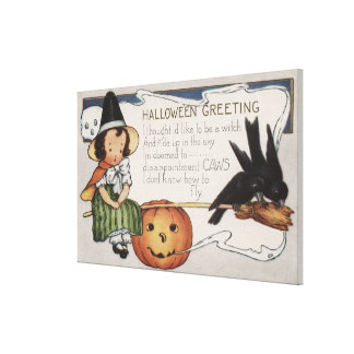 Halloween GreetingCrows Canvas Print