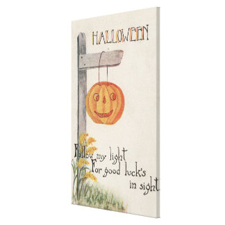 Halloween GreetingJack-O-Lantern on Post Canvas Print