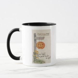 Halloween GreetingJack-O-Lantern on Post Mug
