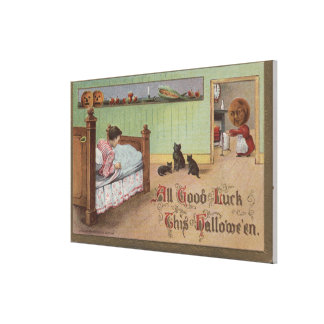 Halloween GreetingKid in Bed Canvas Print