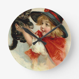 Halloween Greetings - Frances Brundage Round Clock