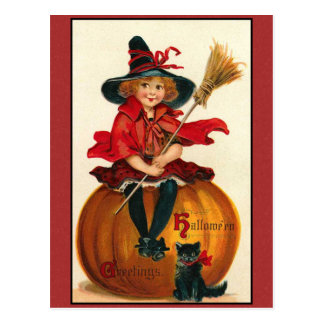 Halloween Greetings Vintage Girl and Cat Postcard