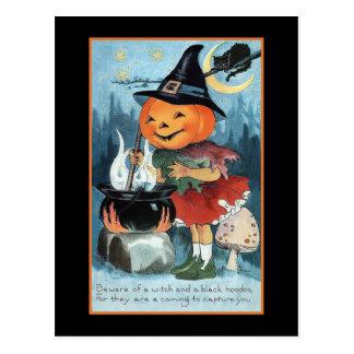 Halloween Greetings Vintage Pumpkin Witch Girl Postcard