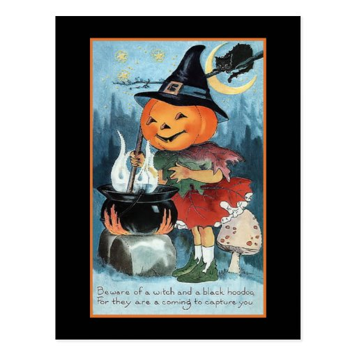 Halloween Greetings Vintage Pumpkin Witch Girl Post Cards