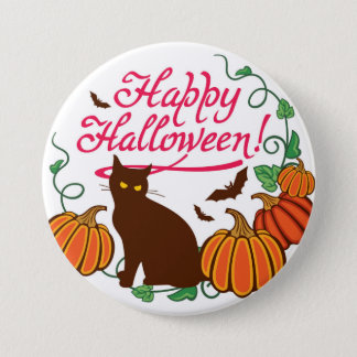 Halloween greetings with black cat 7.5 cm round badge