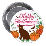 Halloween greetings with black cat 7.5 cm round badge
