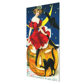Halloween Greetings Woman on Jack-o-Lantern Canvas Print