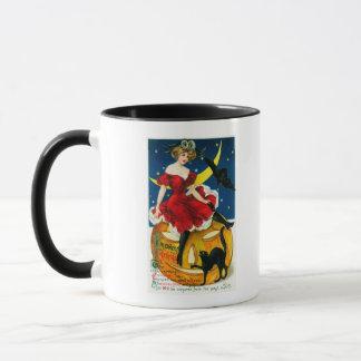 Halloween Greetings Woman on Jack-o-Lantern Mug