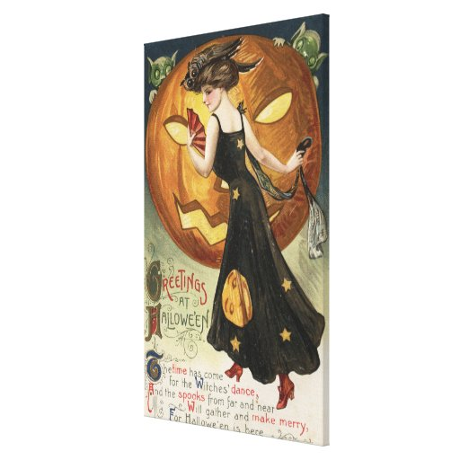 Halloween GreetingWitch Dancing and Pumpkin Stretched Canvas Print