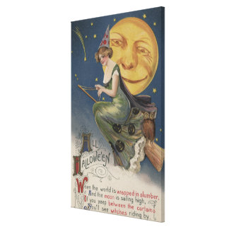 Halloween GreetingWitch in Flight Canvas Print