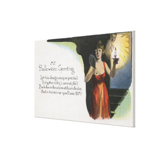 Halloween GreetingWoman with Candle Canvas Print