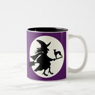 Halloween greyhound Two-Tone coffee mug