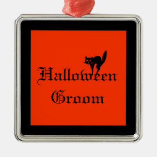 Halloween Groom Ornament with black cat