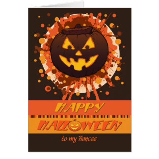 Halloween Grunge Pumpkin, for Fiancee - Funny Greeting Card