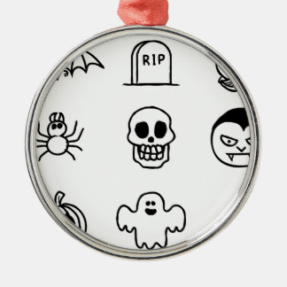 Halloween Hand Drawn Icon Set Silver-Colored Round Decoration