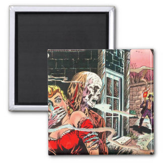 Halloween Haunted Comic Book Square Magnet
