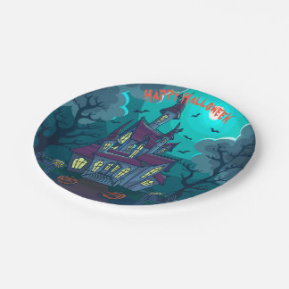 """Halloween Haunted House 7"""" Paper Plates"""